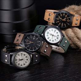 Vintage Classic Mens Leather Strap Sport Quartz Army Watch